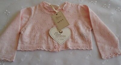 NEW Next soft pink baby girl's cardigan lacy design age 3-6 mths 100% cotton
