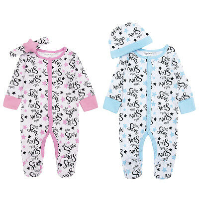 Newborn Baby Girls Boys Babygrow Star Sleepsuit Outfit 2 Piece Set Hat Headband