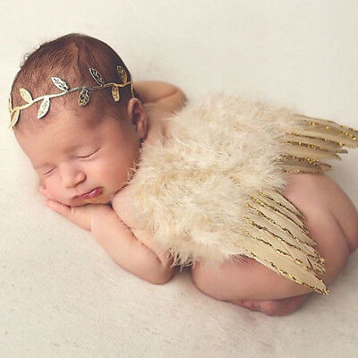 Newborn Baby Girl Boy Angel Wings Leaf Headband Costume Photo Photography Props