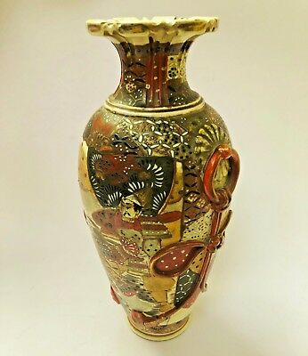 ANTIQUE RARE OLD JAPANESE VASE 19c. CERAMIC POTTERY HAND PAINTING SATSUMA