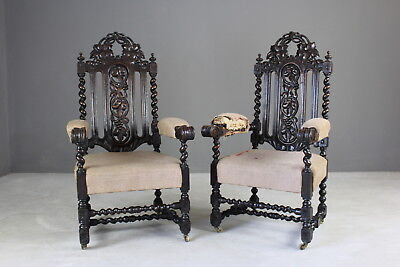 Pair Antique Victorian Large Carved Oak Throne Chairs