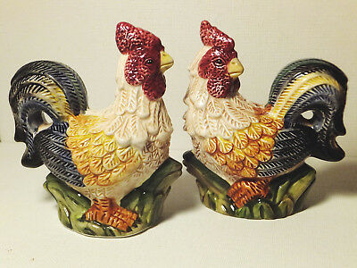 Jay Import Fall Colored Roosters Ceramic Salt & Pepper Shaker Set