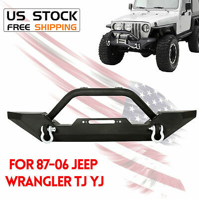 Rock Crawler Front Bumper Winch Plate D-Ring For 87-06 Jeep Wrangler TJ YJ