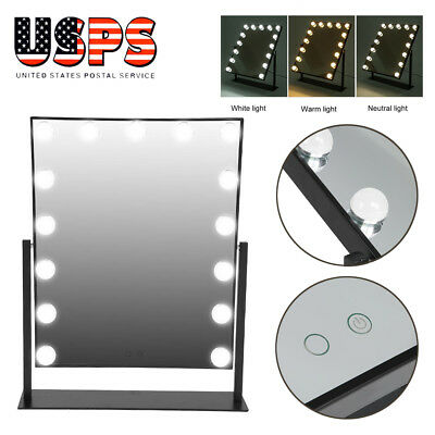 15 Led Bulbs Hollywood Vanity Makeup Mirror with Lights Dressing Table Mirror US