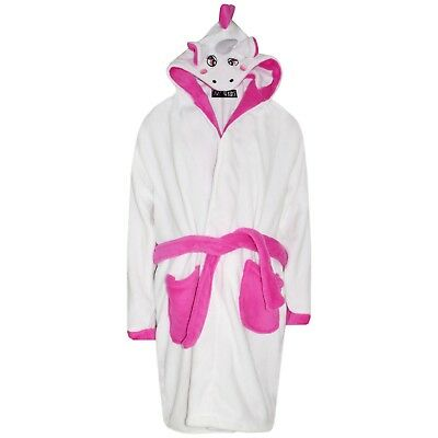 Kids Girls Bathrobes 3D Animal Unicorn Dressing Gown Fleece Nightwear Loungewear