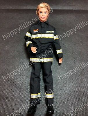 Ken Doll Firefighter Rescue Uniform Suit Outfit Clothing & Tall Boots Barbie New