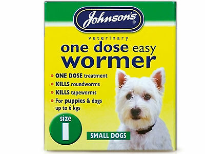Johnsons One Dose Easy Wormer Size 1 - Dog Tablets Round / Tapeworm Expiry 02/19