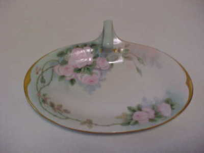 Antique 1903-1917 Hand Painted Porcelain Handled Tray Limoges Paroutaud Freres