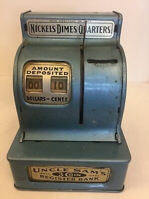 Antique Uncle Sam's 3 Coin Register Bank Durable Toy & Novelty Corp Works 1940s
