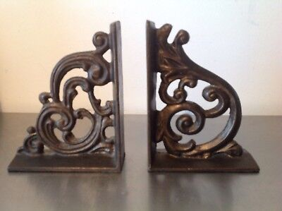 Pair of Vintage Cast Iron Decorative Scroll Swirl Design Bookends