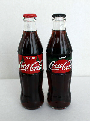 Coca-Cola, full, glass bottles, Russia, 2018, NEW, russian text, 2 pieces