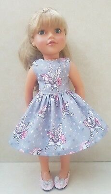 Handmade Doll Clothes fit Designafriend Grey and Pink Unicorn & Stars Dress
