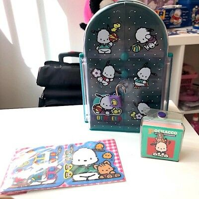 Vintage Sanrio Pochacco Jewlry Box Case 1994 Stationary Stickers Memo Rare