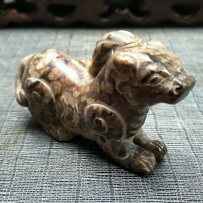 Chinese collectibles, manual sculpture,The Rare He Tian Jade animal statue A3299