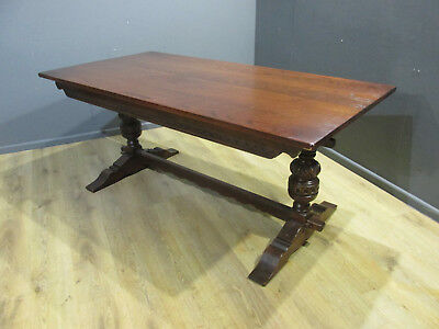 Vintage Old Charm Tudor Style Oak Refectory Dining Table