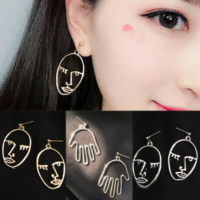 Vintage Hollow Out Abstract Face Retro Dangle Drop Earrings Girls Women Jewelry