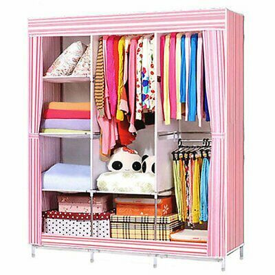 Triple Canvas Fabric Wardrobe Clothes Hanging Rail Shelves Storage Cupboard AA