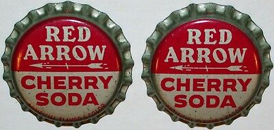 Soda pop bottle caps RED ARROW CHERRY Lot of 2 cork lined unused new old stock