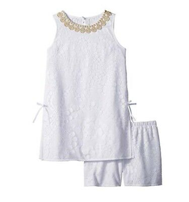 Lilly Pulitzer Kids 6 Mini Donna Romper Set New Resort White Mocean Lace Shift