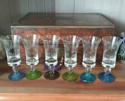 Vintage Coloured Etched Sherry, Port 50's 60's Glasses. Christmas party