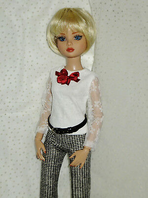 Black & White Tweed Pants & White Lace Top Outfit for Ellowyne Wilde