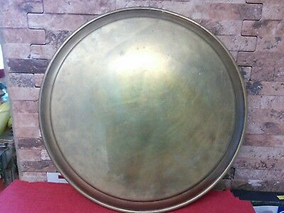 Vintage large Solid Brass Tray Heavy   16 Inch Wide