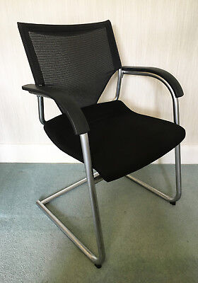 Black Fabric Office Meeting Room Chair with Armrests & Mesh Back