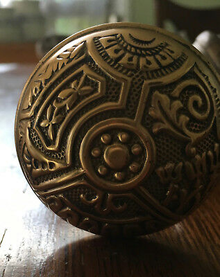 Victorian Solid Brass Ornate Eastlake Door Knob Set
