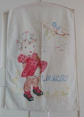 Large Vintage Shabby Chic Laundry Bag - Faded Colors of Sweet Child and Bird