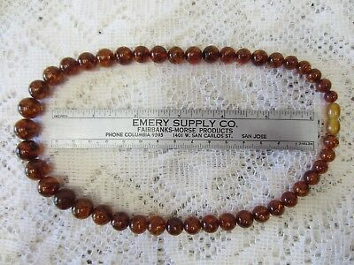 """Baltic Amber Graduated Round Beaded Necklace  18"""" Long, 27 gms (#3) Beautiful!"""