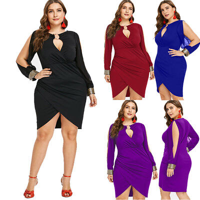 Plus Size Women Sexy Cocktail Party Long Sleeve Keyhole Neck Slit Bodycon Dress