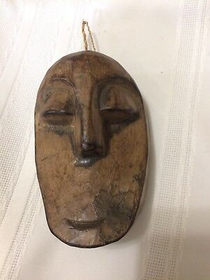 """Vintage Hand Carved Decorative Wooden Face Wood Art Collectible Indonesia 4.5"""""""