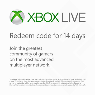 Xbox Live Gold 14 Day Trial Code - No Expiry / Worldwide (Xbox One/360)