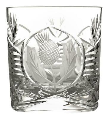 Set of Two Glencairn Crystal Bothwell Whisky Rocks Tumbler with Thistle Cut