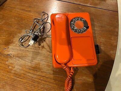 Lovely orange retro 1970's Northern Telecom wall hanging telephone