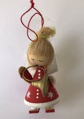 Red Angel German Wooden Christmas Tree Ornament French Horn Musical Vintage Wood