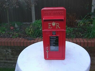 "Royal Mail ""Post office"" Genuine 1960s ER cast iron Front GPO Post Box & Stand"