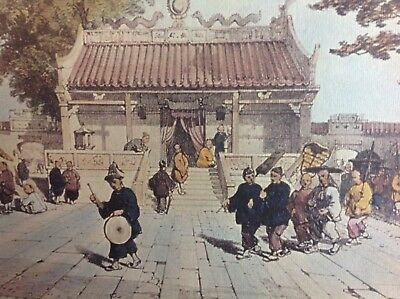 Chinese Oriental Print Picture Vintage Old Rare Amazing Wow Wow
