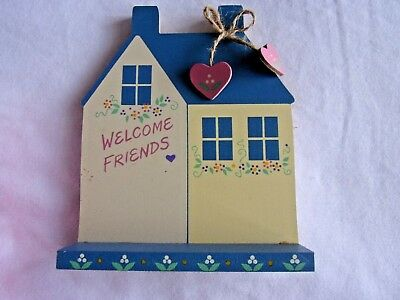 Vintage Perpetual Calendar Wooden Tile - Welcome Friends  House