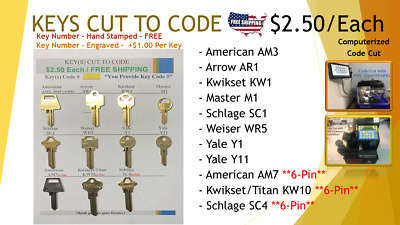 Key Cut to Code - Various - Computerized Code Cut with HPC CodeMax - FREE SHIP