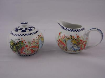Paul Cardew Porcelain Sugar Bowl & Cream Pitcher Set - Alice In Wonderland NEW