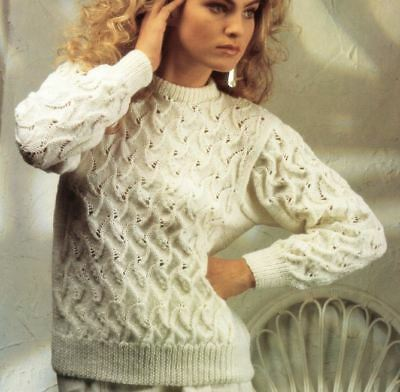 Knitting Pattern Lady's Fab DK Lace Panelled Sweater Bust 81-97 cm (204)