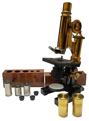 ANTIQUE c.1900 ERNST LEITZ BRASS MICROSCOPE W/ ORIGINAL BOX