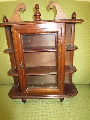 VTG 1950's Curio Cabinet Glass Door Footed Hanging Table top Display Wooden