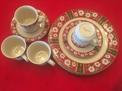 Price reduced! 12pc CHARLTON HALL,Kobe Holiday 4 Dinner Plates,Cups & Saucers