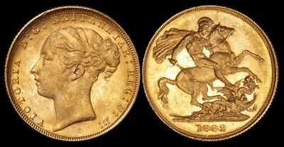 AUSTRALIA 1882S QV Young head St George faint B Sovereign. Gold. Lustrous UNC.