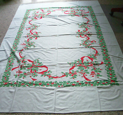 Vintage 1950's CHRISTMAS TABLECLOTH 60 X 94 with 13 NAPKINS HOLLY RIBBON BELLS