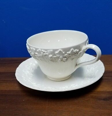 WEDGWOOD china QUEENSWARE cream color on cream SHELL EDGE cup and saucer