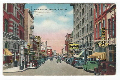 Linen Vintage Post Card Main St Helena, Mt  Post marked 1945