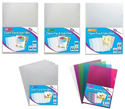 A4 A3 Clear Plastic Open Top & Side Report File Project Covers Sleeves